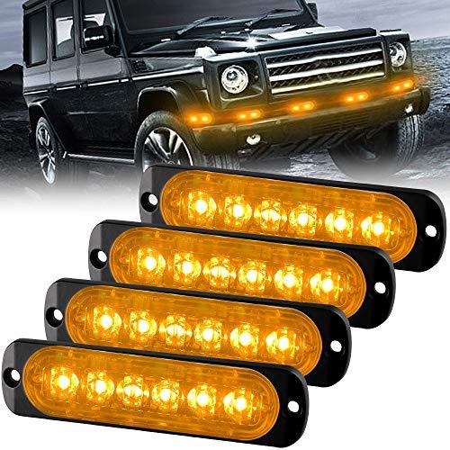 Sidaqi 4PCS 12W 6-LED Surface Mount Emergency Beacon Hazard Warning lights for Truck Car Vehicle LED Mini Grille Light Head Strobe Caution Flash Lights (Amber)