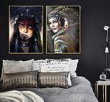 TeriliziCuadro De Lienzo De Arte De Pared Indígena De Mujer India, Póster Nórdico Nativo, Imágenes De Pared Aborígenes para Sala De Estar-50X70Cmx2Pcs Sin Marco