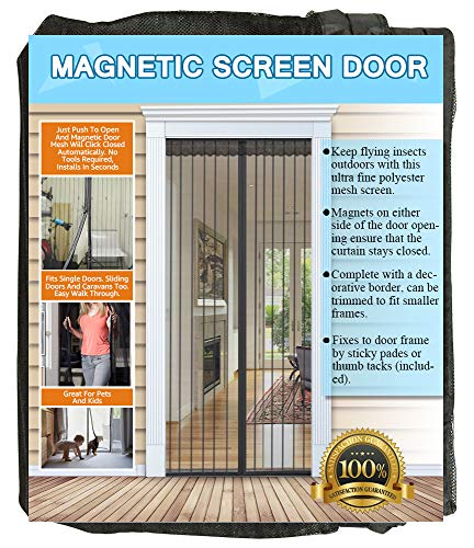 NGreen Reinforced Magnetic Screen Door - Heavy Duty Mesh Curtain and Full Frame Hook and Loop, Keeps Mosquitoes Out, Toddler and Dog Friendly, No Tools Required (Fits Door Up to 72'W x 80'H)