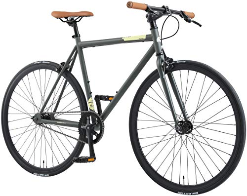 BIKESTAR Singlespeed 700C 28 Zoll City Stadt Fahrrad Fixie | 53 cm Rahmen | Rennrad Retro Vintage Herren Damen Rad | Anthrazit & Beige | Risikofrei Testen
