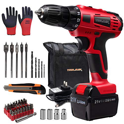 Toolman 21V Variable Speed Cordless Drill 53PC Set, 1/2 keyless Chuck, 2 Speed Setting, 18+1 Torque Setting ZTP037