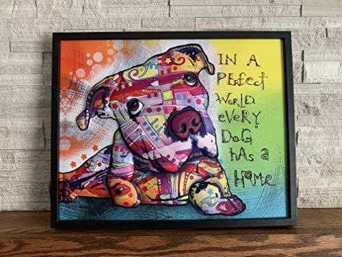 Ilove Home Decor Framed Pit Bull Wall Art - 3D Dog Decor Wall Print - Abstract Wall Art 16'x20'