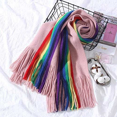WEIYIM Lange schals für Frauen Winter schal Decke weichen schal quaste rosa Hand Stricken schal