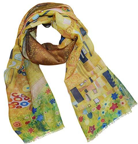 XXL Langer Schal mit Gemälde Motiv Kunstdruck Malerei Vincent van Gogh/Claude Monet/Gustav Klimt Halstuch Tücher Stola Umschlagtuch Schals (Der Kuss)
