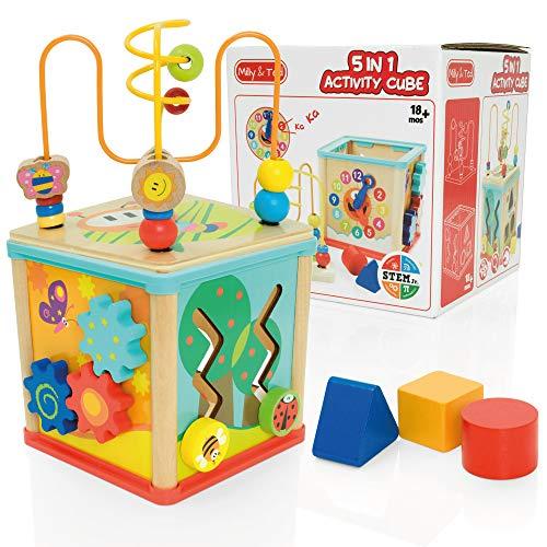 Milly & Ted - Cubo de Actividades de Madera 5 en 1 - clasificador clásico en Forma de bebé o niño pequeño - Adecuado para niños de 1 año o más