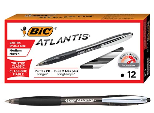BIC Atlantis Ballpoint Pen, Medium - Black Ink (12 Per Pack)