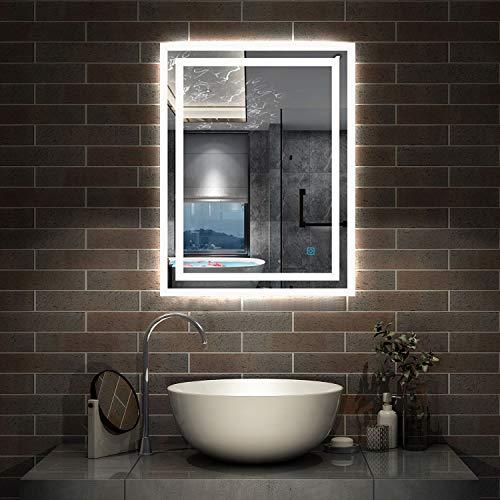 AicaSanitär LED Spiege 50×70cm Badspiegel mit Beleuchtung Lichtspiegel Badezimmerspiegel Wandspiegel Touch-Schalter Antibeschlag IP44 Kaltweiß energiesparend