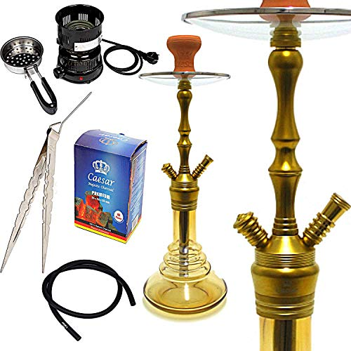 Caesar Shisha Set Wasserpfeife Ozon (56cm), Kohleanzünder (02), Naturkohle 1kg (2,6cm), Kohlezange I Wasserpfeifen Komplettset (Golden/Amber) + gratis E-Book für optimalen Shisha Kopf Aufbau