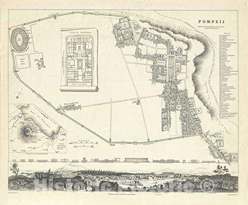 Historic Map : Plan of Pompeii, Italy, S.D.U.K, 1832, Vintage Wall Décor : 36in x 30in