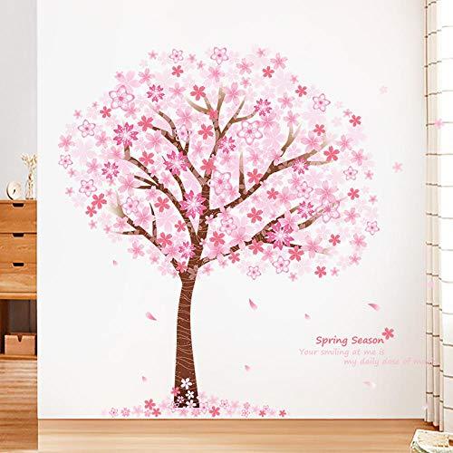 LSDAEER Wandtattoo Selbstklebend Modern Diy Rosa Kirschbaum Wandaufkleber Mädchen Schlafzimmer Kinderzimmer Wand Hintergrund Dekoration Aufkleber Abnehmbare Wasserdicht