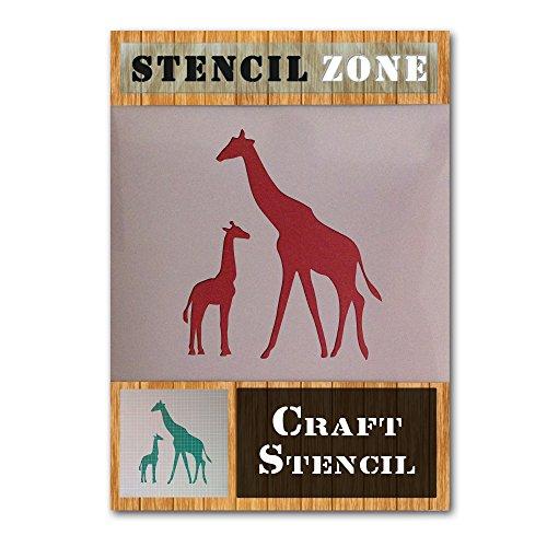 Giraffen-Familie Wild Animal Mylar Airbrush Malerei Wand-Kunst-Handwerk-Schablone 4 (A6 Größe Stencil - XXSmall)