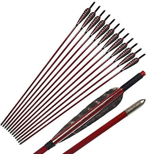UUPA 12 unidades de tiro arqueado de 33,5 pulgadas, flechas de madera, águila, fletching arrows para recurve Bow Longbow Hunting