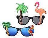 DSstyles 2 Stück Hawaiianische Tropische Neuheit Sonnenbrille Flamingo Papagei Baum Party Brille...