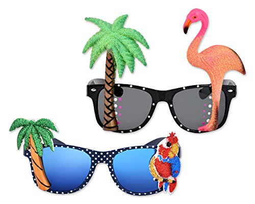 ACE Select 2 Stück Hawaiian Tropical Neuheit Sonnenbrille Flamingo Parrot Tree Party Brille Eyewear für Fancy Kleid