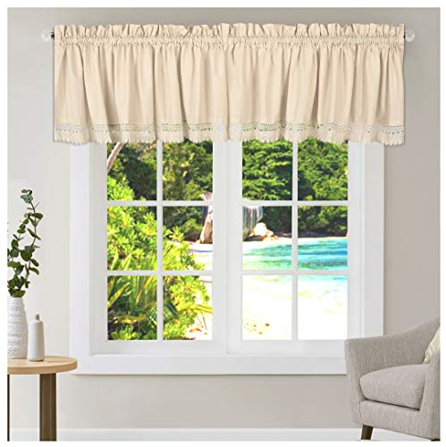 Living Room Valances, Courntry Curtains Valance, Window Toppers, Kitchen Valance, Valance for Windows, Window Valance, Window Curtain Valance- Cotton Flax Valance with Lace-2Pack -16x72 inch-Natural