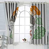 Cortinas decorativas para sala de estar, erizo, colorido, con varios artículos comestibles, setas, frutos secos y hojas, apto para dormitorio, sala de estar, estudio, etc. W55 x 45 cm, multicolor