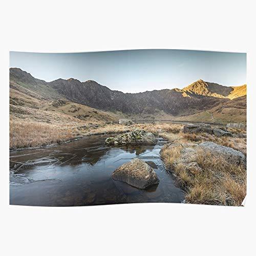 Ice Llydaw Horseshoe Reflections Llyn Frozen Park Pool National Snowdonia Snowdon Geschenk für Wohnkultur Wandkunst drucken Poster 11.7 x 16.5 inch