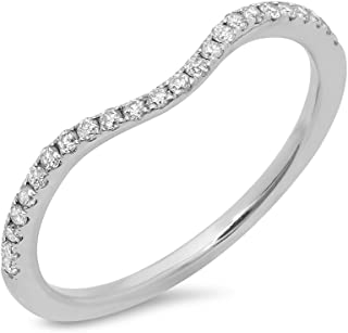 Dazzlingrock Collection 0.19 Carat (ctw) 14K Round White Diamond Ladies Wedding Stackable Contour Guard Band, White Gold