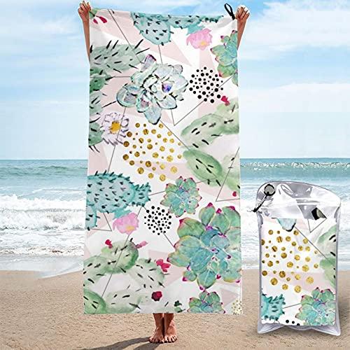 Toalla de baño verano acuarela cactus suculentas triángulos patrón microfibra secado rápido Super absorbente toalla toalla de playa ligera toalla suave ligera 31.5 'x 63'