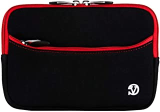 Multi Purpose Neoprene Storage Pouch for Pencil Case, Art Supplies, or Makeup Bag (Black with Red Trim)