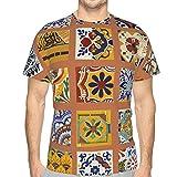 Camisetas para Hombre/niño, Moda de Manga Corta Talavera Mexican Tile L