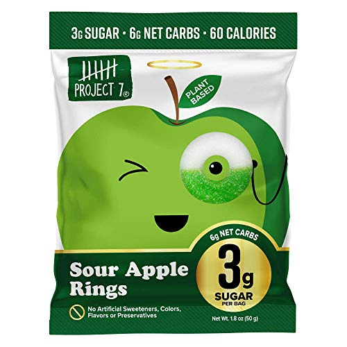 Project 7 Low Sugar Sour Apple Rings – Keto-Friendly & Vegan Gummies With 3g Sugar, 6g Net Carbs & Low Calorie (60) – No Sugar Alcohols, No Artificial Sweeteners or Colors, Pack of 8 (1.8oz)