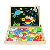 Fajiabao Magnetic Drawing Board Game Double Sided Blackboard Wooden Jigsaw Puzzles Wooden Toys