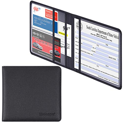 Wisdompro Car Registration and Insurance Documents Holder - Premium PU Leather Vehicle Glove Box Paperwork Wallet Case Organizer for ID, Driver's License, Key Contact Information Cards - Black
