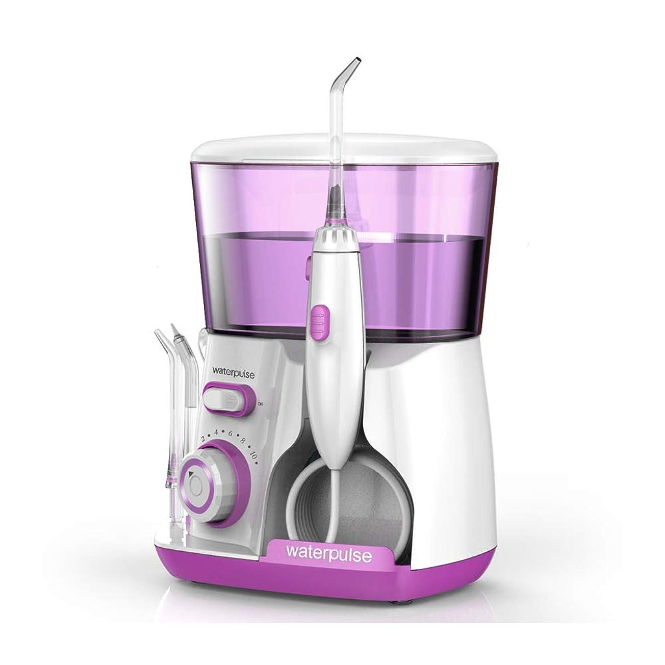 戸口ポゴスティックジャンプ折Loboo Idea V300 赤い歯洗濯機水フロスデンタルクリーナー口腔洗浄器、自由に調整可能な10種類の歯車、5種類のノズルを含む、歯の清掃が360度容易、あなたの歯のニーズを満たすために (V300R, 紫色)