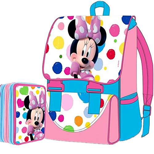 Kit Scuola School Promo Pack Zaino Estensibile + Astuccio 3 Zip Disney Minnie Mouse 2015-2016