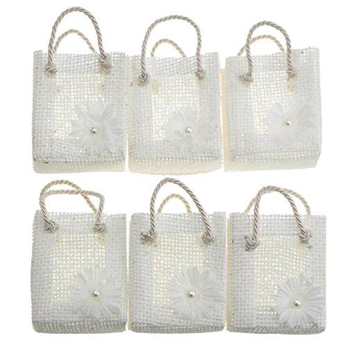Homeford Mini Woven Favor Tote Bags, Daisy, 3-Inch, 6-Piece (Natural)