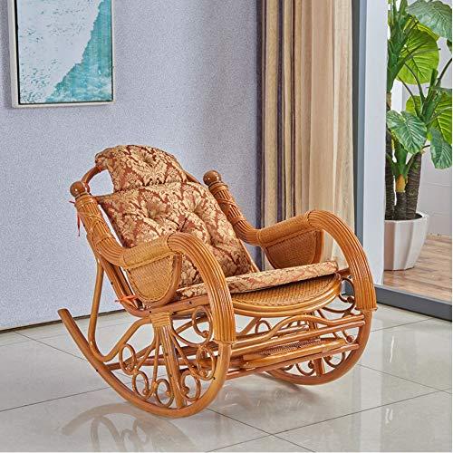 YBWEN schommelstoel echte rotan rotan schommelstoel vrije tijd zitten liggen lunch pauze slaap thuis bank blij Lazy rotan geweven rug volwassen schommelstoel fauteuils