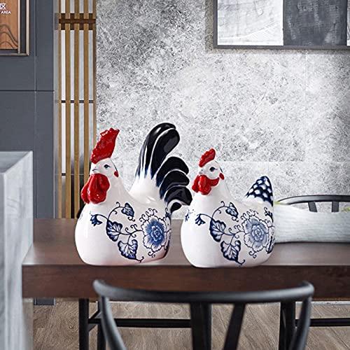 Ceramica in Stile Cinese Pollo Decorare, Porcellana Blu e Bianco Marito e Moglie Pollo Puro Dipinto a Mano Artigianato a Mano Arredamento per la casa Decorazione