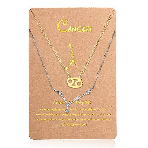 2 Collares de 12 Constelaciones Collar con Colgante de Zodiaco Constelación de Oro, Cadena de Señal de Horóscopo Astrológico de Plata con Tarjeta de Constelación para Mujer (Cáncer)