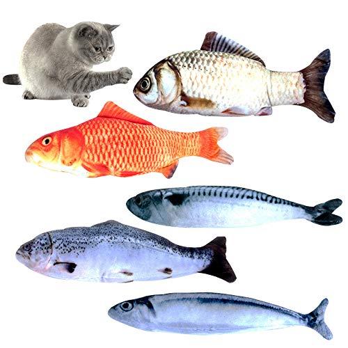 Lidiper 5 Piezas Hierba Gatera Juguete, Interactivo Gato Juguetes Pescado Pescados del Juguete Catnip Juguetes Masticar Simulación Peluches Pescado Juguetes Almohada Gato para Gato Gatito 20cm