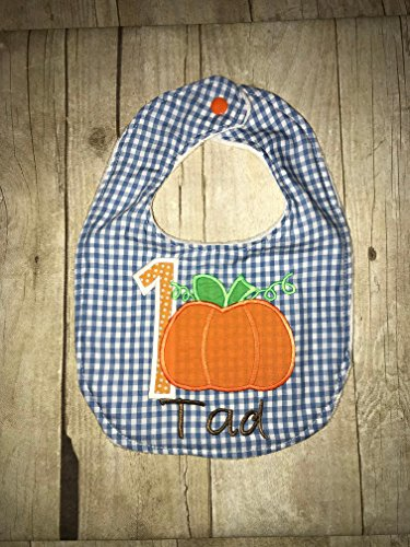 Pumpkin Baby Bib - Customized - Blue Gingham