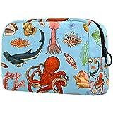 Bolsas de Maquillaje Estuche multifunción para Organizador de Bolsas de cosméticos de Viaje portátil Fishes Set o Sea Creature Nautilus Pompilius con Neceser con Cremallera para Mujer