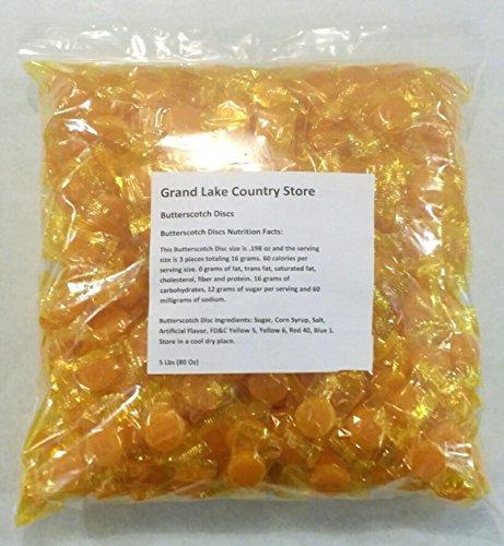 Butterscotch Discs 5 Lbs Bulk Hard Candy Approx. 425 Pieces