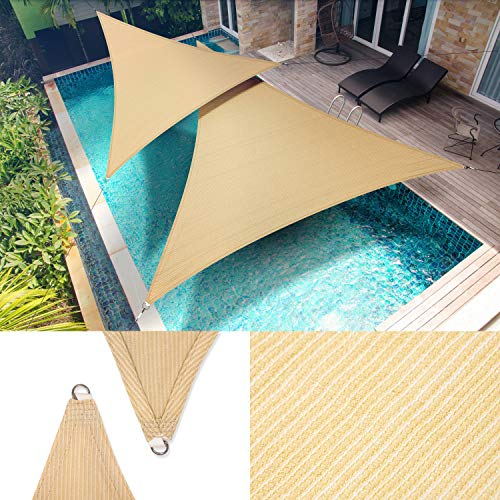 ShadeMart 28' x 28' x 28' Beige Sun Shade Sail Triangle Canopy Fabric Cloth Screen, Water Permeable & UV Resistant, Heavy Duty, Carport Patio Outdoor - (We Customize Size)
