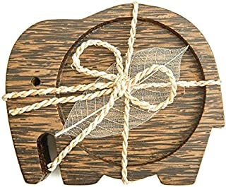 IYARA CRAFT Wood Coasters for Drinks Tea Cups Saucers,Table topper decoration set Elephant shape (Palm wood)
