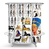 KISY - Cortina de Ducha de Tela Impermeable Egipto, diseño de hipoglucemia Antigua, Estilo Tribal, tamaño estándar de 177,8 x 177,8 cm, Color Blanco