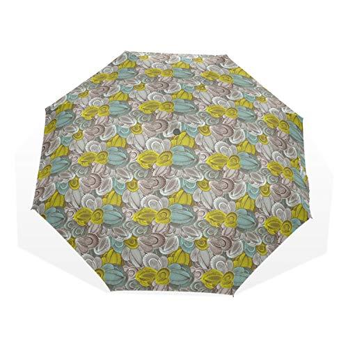 LASINSU Mini Ombrello Portatile Pieghevoli Ombrello Tascabile,Stampa artistica floreale surreale astratta,Antivento Leggero Ombrello per Donna