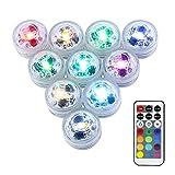 Mini RGB LED Luz Sumergible,LUXJET Color Cambio Lámpara Impermeable Subacuática Acento Luz con Control Remoto IR Para Estanque,Acuario,Vaso,Tazones, Piscina, Acuario(10er Pack)