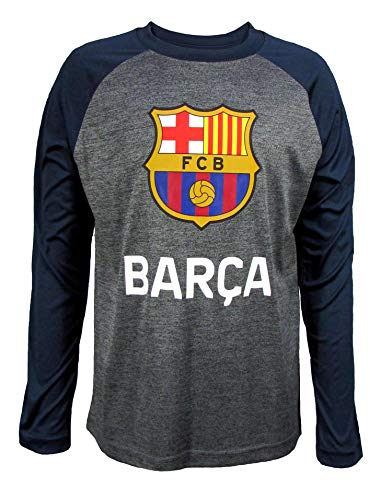 Official FC Barcelona Junior Boys Crew Neck, Long Sleeve Top (Charcoal Space DYE, Medium)