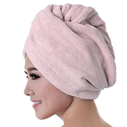 Xlin Toalla De Microfibra Wrap De Pelo For Las Mujeres Súper Absorbente Rápida Cabello Seco Turbante De Sequía De Magic Que Bañan La Toalla Del Abrigo Del Sombrero Del Casquillo (Color : Pink)