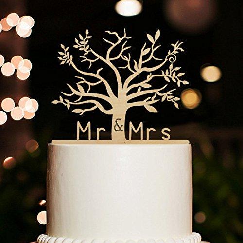 loQuenn - Topper per torta, Mr e Mrs con albero di Natale, stile rustico, pe matrimonio