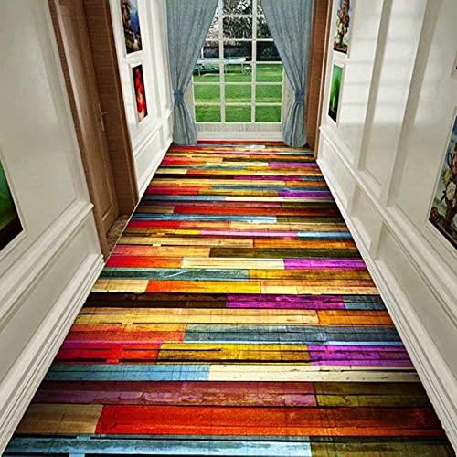 GIVROLDZ Alfombra de Pasillo Rayas de Colores, Entrada Antideslizante, Alfombras Muy Largas para Puertas de Entrada, Escaleras de Cocina,Rojo,0.8X 3m(31.5x118.1in)