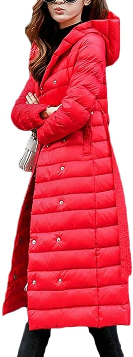 Alion Women's Casual Hooded Lightweight Long Maxi Down Jackets Coat with Belt