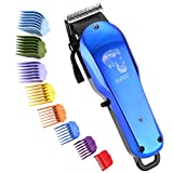 Professional Cordless Hair Clipper for Men Hair Haircuttings Kit Mustache Body Grooming Kit Rechargeable Hair Trimmer for Men Stylists Barbers Kids Home (Blue)