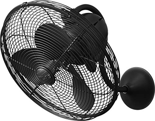 Matthews LL-BK Laura 16' Outdoor Wall Fan with Remote Control, 3 Metal Blades with Safety Cage, Matte Black